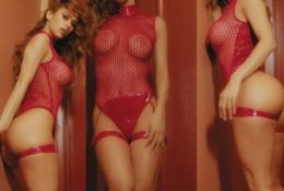 Yanet Garcia Sexy Red Fishnet Leaked Video